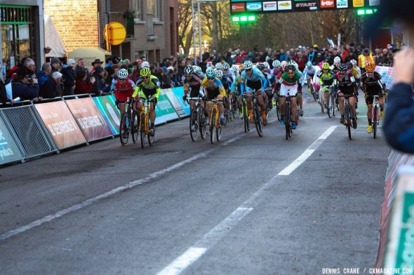 Women's start at Diegem Super Prestige. © Dennis Crane