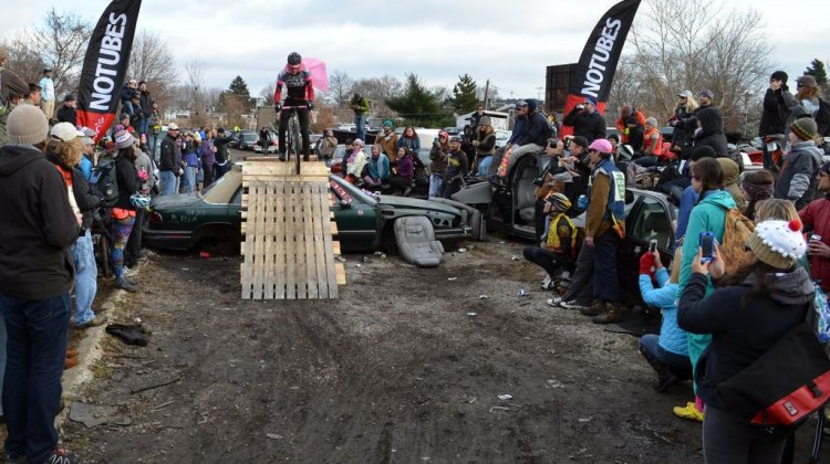 It's a bird, it's a plane... it's going to end badlyat Bilenky Junkyard Cross. © Cyclocross Magazine