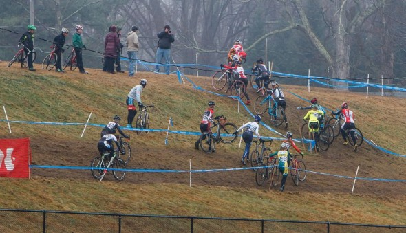 Women slipping at sliding at Baystate Cyclocross Day 2 2013. © Russ Campbell