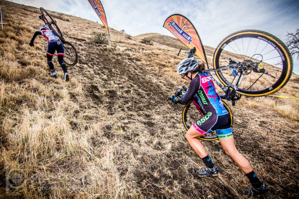 On the first lap of Saturday's Women's A race, Nicole Brandt leads Amanda Nauman up one of Hart Park's notorious climbs. © Philip Beckman / PB Creative