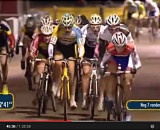 Screenshot: Lars van der Haar leads a huge pack in Kalmthout.