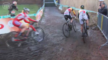 Sanne Cant leads Lechner and Anderson at the 2013 Superprestige Diegem race.