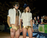 Adam Craig and Mical Dyck wearing their Golden Speedos. © Tim Westmore