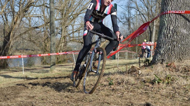 Zack McDonald on his way to the win at the 2014 Kingsport Cyclocross Cup.  © Ali Whittier