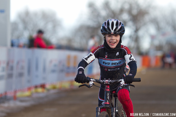 Alison McKeithan (Evolution Jr. Devo Racing Team) took gold in the Women's 9-10 race.  ©Brian Nelson
