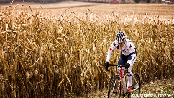 Will Katie Compton's new Trek Boone carbon cyclocross bike be equally at home in American corn fields and Belgian mud? photo: Trek