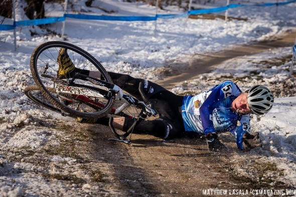 Early morning races mean slick, icy conditions, especially in this corner before the finish. © Matthew Lasala