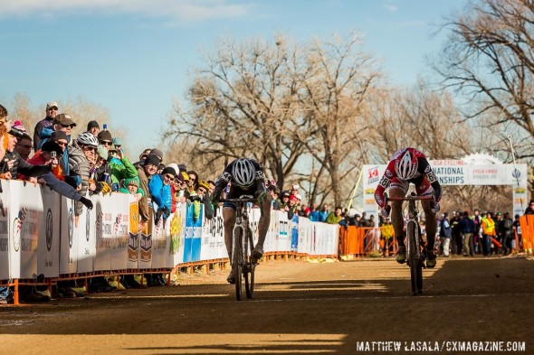 Russell Stevenson and Jake Wells in their photo finish - Masters 35-39. 2014 Cyclocross National Championships © Matthew Lasala