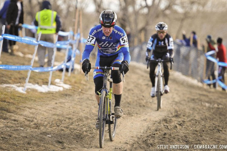Don Myrah leading Tim Faia - 2014 Masters 45-49 Cyclocross National Championships. © Steve Anderson