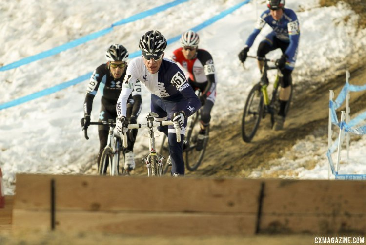 Jon Cariveau leads Tim Faia, Kenny Wehn and Don Myrah with Robson off the front. © Cyclocross Magazine