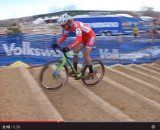 Screenshot: Cody Kaiser hopping the barriers at the U23 2014 Cyclocross National Championships.