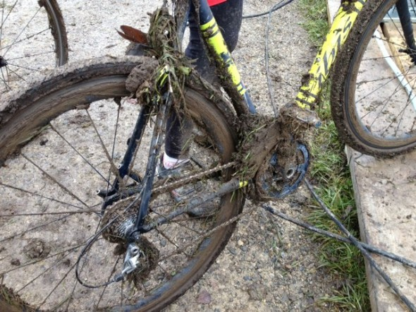 It was a muddy day on course for racers at Masters Worlds 2014. © Geoff Wilcox