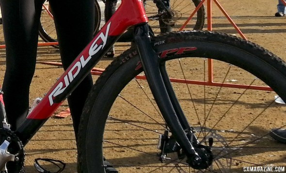 Her new front fork can go disc or canti, but she rode disc with the TRP HyRd mechanical/hydraulic disc brake.  © Cyclocross Magazine