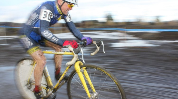 Paul Curley brought his Tom Stevens Spin Arts frame with barcons, wheel cover and rear view mirror to Gossau in hopes of winning a World Championship. © Cyclocross Magazine