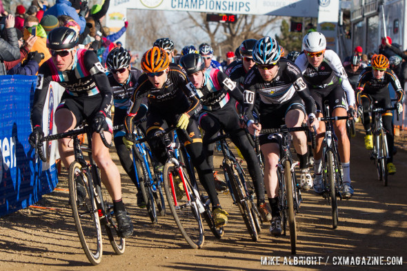 The start of the Elite Men's race at cyclocross Nationals. © Mike Albright