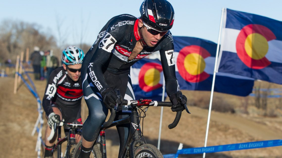 Danny Summerhill (K-Edge/Felt) leads out Redline Bicycles' elite racer Justin lindine at the the 2014 Cyclocross Nationals in Boulder, CO