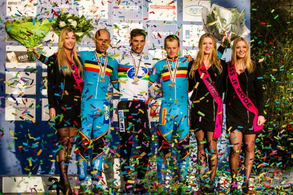 The Elite podium at 2014 Worlds, L to R: Nys, Stybar and Pauwels. © Thomas Van Bracht