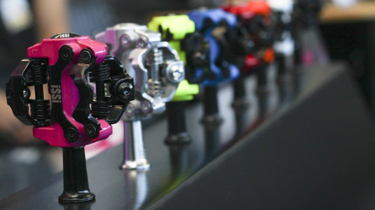 iSSi is QBP's new pedal brand, and they're providing a compelling, colorful alternative to Shimano SPD pedals, but they're not Shimano SPD cleat compatible. © Cyclocross Magazine