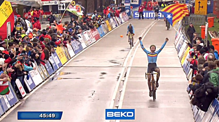 Thijs Aerts wins 2014 Junior Men's Cyclocross World Championships in Hoogerheide.