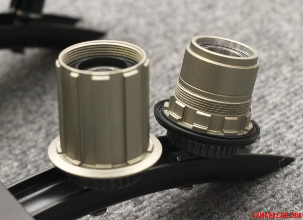 Campagnolo, XX1 and Shimano/SRAM-compatible freehub bodies are availble for the Velocity ATB Convertible hub on the Aileron wheelset. © Cyclocross Magazine