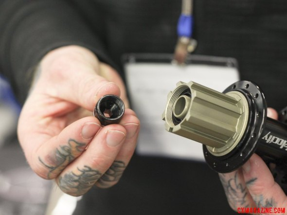 Simply unthread this axle end cap and thread on a new one to convert from 135mm to 142mm rear spacing. © Cyclocross Magazine