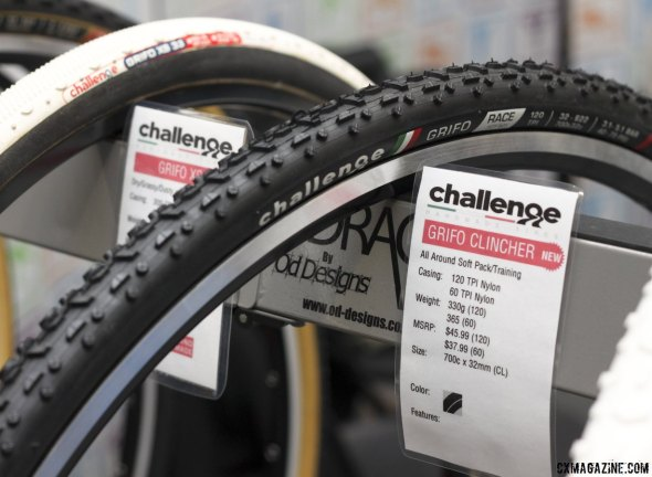 Challenge Tires had the Grifo Pro clincher, but now offers the Grifo Race clincher in both 60 and 120tpi - Frost Bike 2014. © Cyclocross Magazine