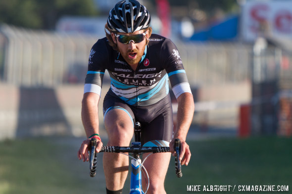 Driscoll heads to third in teh Sea Otter 'cross race. © Mike Albright