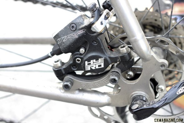 TRP's HY/RD hydraulic disc brake, titanium dropouts with IS disc brake mounts and fender mounts. © Cyclocross Magazine