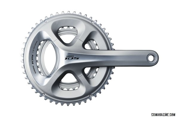 Shimano's new 105 5800 11-speed group comes in silver and black, and has the four-arm design that accepts compact, cx or road ring sizes. But a 36/46 version is not planned - only Ultegra 6800 has that.
