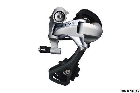 Shimano's 105 5800 11-speed group features short cage (SS) or medium cage (GS) rear derailleurs. GS rear derailleurs will accept a 32t cog. (Don't tell anyone but we've used SS on 36t on some bikes!)
