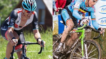 Fabian Cancellara and Sven Nys finally meet in person, discuss cobbles and cyclocross. photos: Youkeys on Flickr (l); Thomas van Bracht (r)