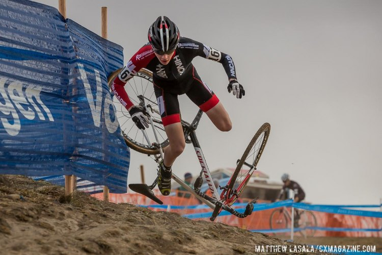 Charlie Hough crashing on the off-camber in the D2 Collegiate race. © Matt Lasala