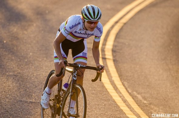 Marianne Vos takes to the road with her new Giro Synthe, with nobody behind. She hopes the Synthe will help her be equally alone come cyclocross season.