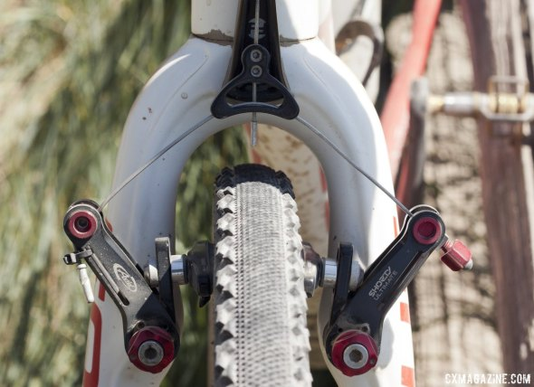 Prenzlow relied on Avid Shorty Ultimate cantilevers, and opted on the Challenge Chicane tubular for his front tire, paired with a rear Grifo XS © Cyclocross Magazine