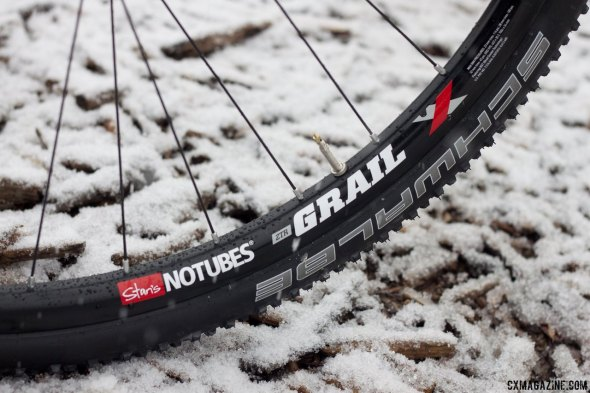 24.5mm deep, 24.1mm wide (external). NoTubes new Grail gravel, road disc and cyclocross tubeless wheelset. © Cyclocross Magazine