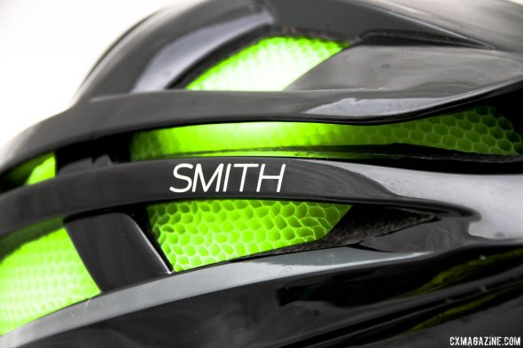 Smith Optics Overtake road helmet's Koroyd material reportedly saves grams and absorbs more impact energy. © Cyclocross Magazine