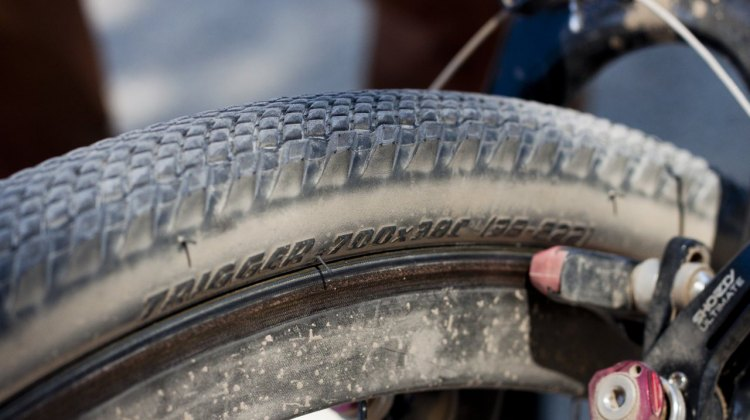 The Trigger 38c folding cyclocross / gravel tire in prototype form. Currently only available in wire bead but folding 2BR versions coming soon. © Cyclocross Magazine