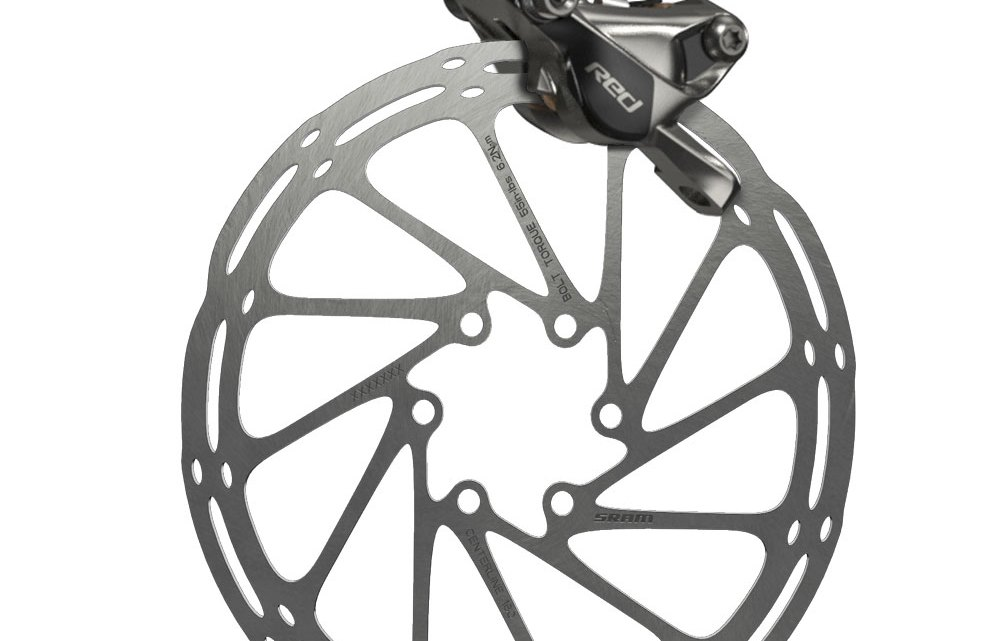 Center Line rotor and redesigned Red 22 disc caliper. SRAM 2015 hydraulic levers and brakes.