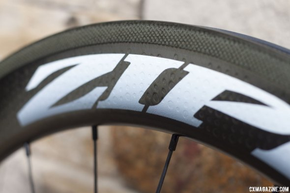 Showstopper brake track & new decals. The ZIPP graphics is printed onto the wheel, saving weight and matching the wheel's dimples