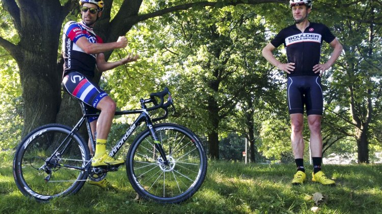 "Tim Johnson pounds the cyclocross basics with Pete Webber during ""Cracking the Code"" in Queens, NY."