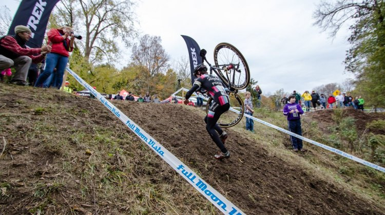 Zach McDonald gets a taste of the brutal runup. On the first day, this is a ride-down rather than a runup, comparible to the sweeping decent at Hoogerheide. © Brian Boucheron