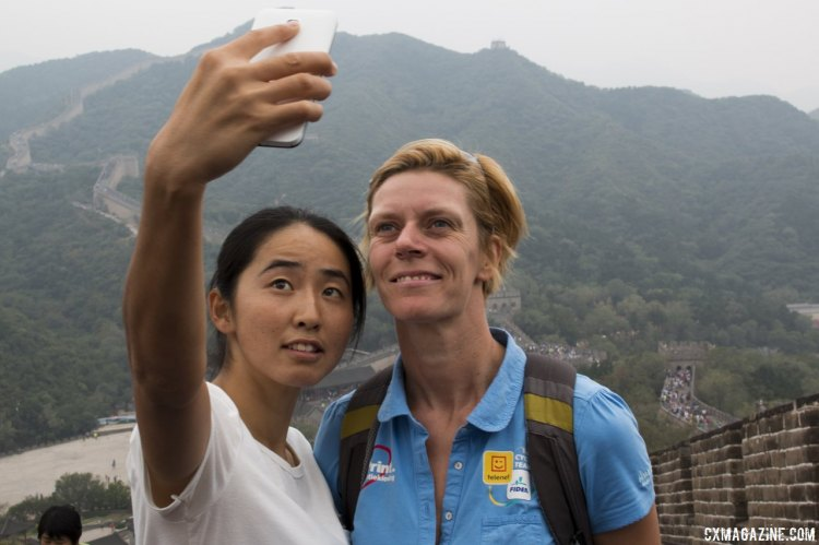 Ellen van Loy hasn't raced a minute yet in China, but is already a celebrity at The Great Wall. © Cyclocross Magazine