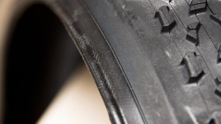 The carbon-reinforced bead of the new Maxxis Mud Wrestler TR tubeless clincher. © Cyclocross Magazine