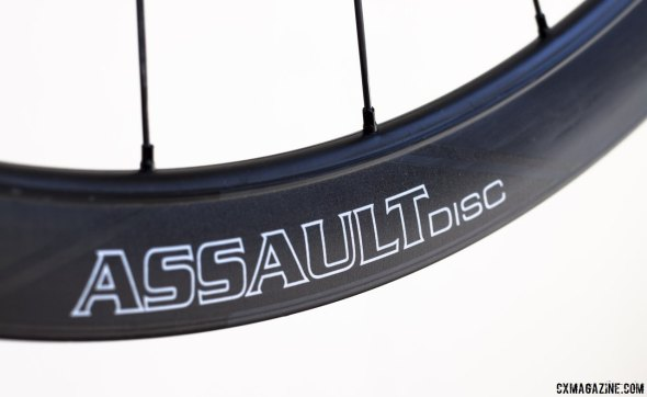 Create a swirl at the races: 2015 Reynolds Assault SLG Disc carbon tubular wheels features the Swirl Lip Generator, and a 41mm deep, 25mm wide rim. © Cyclocross Magazine