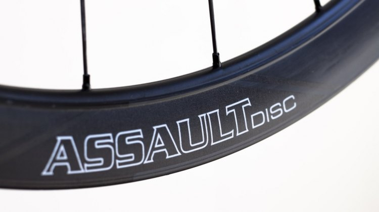 41mm deep, 25mm wide, and aero. 2015 Reynolds Assault Disc carbon tubular wheels. © Cyclocross Magazine