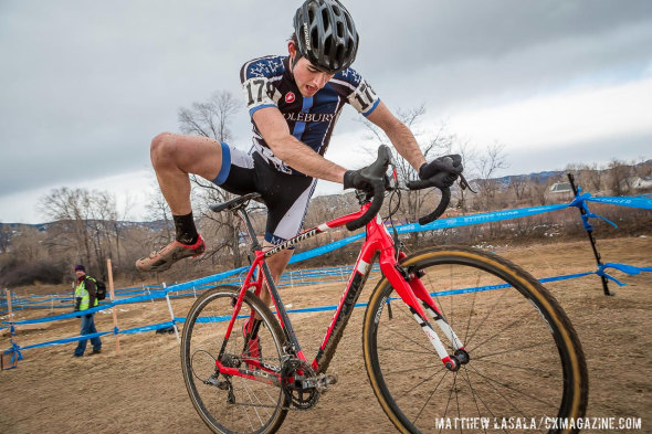 Sam O'Keefe shows how the groin is used, and be strained, during a remount (D2 Collegiate Men's race at the 2014 National Cyclocross Championships). © Matt Lasala