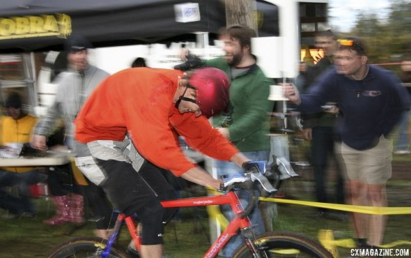 Wicks was ahead of his time with his attempt at hi-viz orange and aerodynamic helmet. © Cyclocross Magazine
