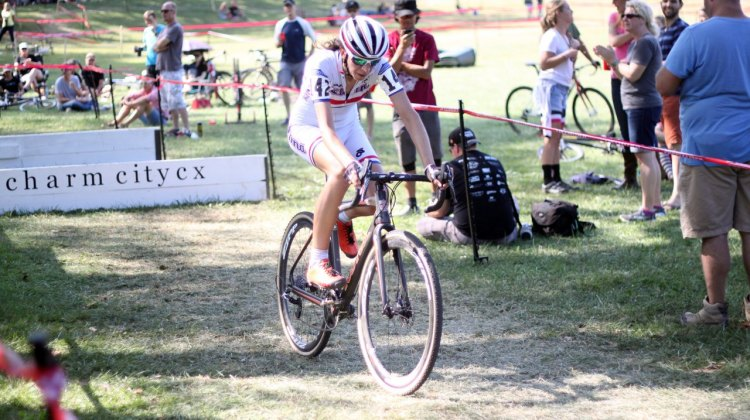 Helen Wyman makes a smooth remount after the C3 barriers at Charm City. © Cyclocross Magazine