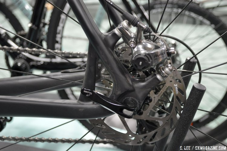 Not hydro but high-end mechanical brakes with the Avid BB7 Road SL brakes on the new 2015 Bianchi Zolder cyclocross bike. Interbike 2014 © Cyclocross Magazine