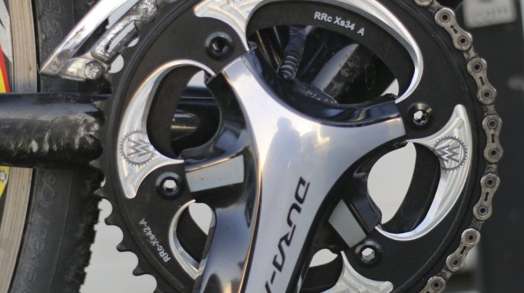 Wick Werks now has 4-arm chainrings, with a 42t and 44t available for Shimano cranksets. © Cyclocross Magazine